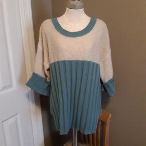Umgee Sweater with teddy bear fabric